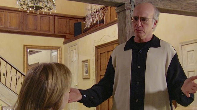 "Given his usual approach to dressing, the oversized Nat Nast shirt still looks ""pretty, pretty good"" on Larry David."