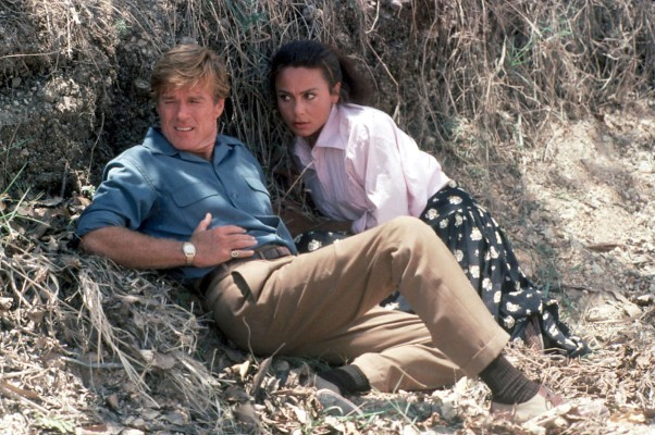 Production photo of Robert Redford and Lena Olin in Havana.