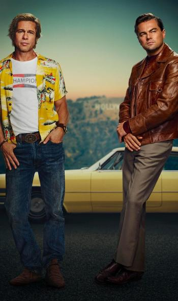 Brad Pitt and Leonardo DiCaprio in promotional artwork for Once Upon a Time in Hollywood (2019)
