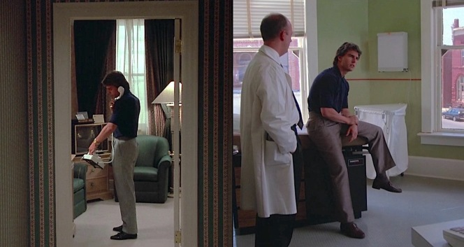 Two similar outfits with two different pairs of shoes: black tassel loafers while trying to arrange the release of his father's multimillion-dollar fortune in exchange for returning Raymond, and brown penny loafers while seeking help for Raymond in a small Oklahoma town.