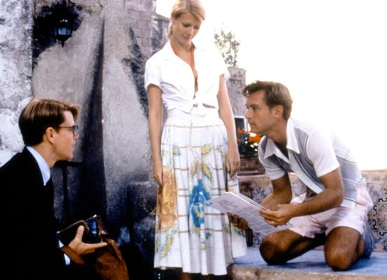 Production photo of Matt Damon, Gwyneth Paltrow, and Jude Law in The Talented Mr. Ripley.