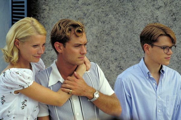 Production photo of Gwyneth Paltrow, Jude Law, and Matt Damon in The Talented Mr. Ripley.
