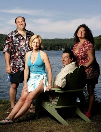 "James Gandolfini, Edie Falco, Steven R. Schirripa, and Aida Turturro during the production of ""Soprano Home Movies"" (Episode 6.13 of The Sopranos)"