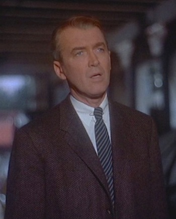 "James Stewart as John ""Scottie"" Ferguson in Vertigo (1958)"