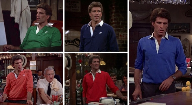 "Sam Malone's ""kangaroo-pocket"" shirts from across the first season: a green Nike shirt in ""Any Friend of Diane's"" (Episode 1.06), a navy Nike shirt in ""Endless Slumper"" (Episode 1.10), a salmon anchor-embroidered shirt in ""Father Knows Last"" (Episode 1.15) among other episodes, a red shirt in ""Pick a Con...Any Con"" (Episode 1.19), and a blue shirt in ""No Contest"" (Episode 1.18)."