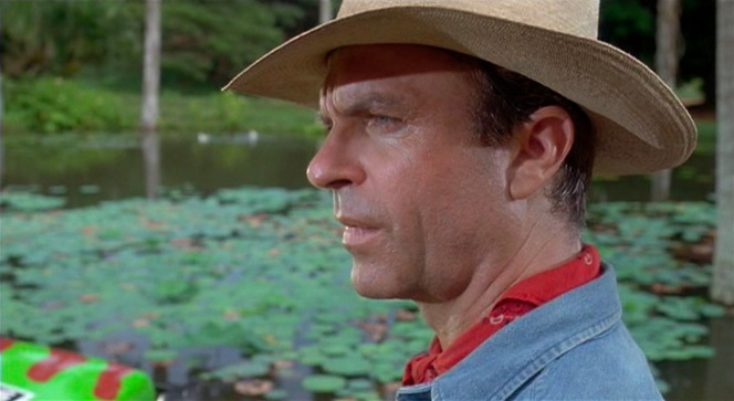 Dr. Grant takes in the wondrous sights of Jurassic Park.