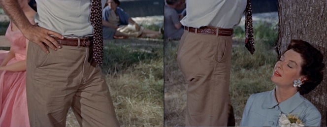 Legendary cinematographer James Wong Howe was director of photography on Picnic, framing shots like these that subliminally communicate Hal awakening carnal impulses of women in the town like Rosemary.