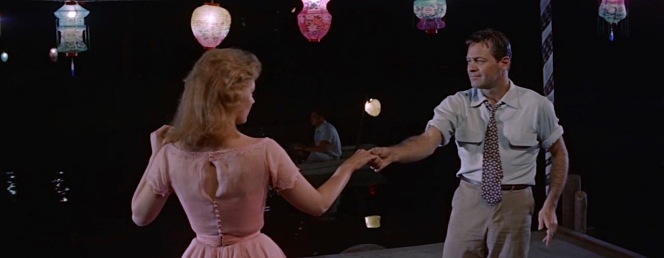 """The famous """"Moonglow"""" dance, for which William Holden prepared by practicing with choreographer Miriam Nelson in Kansas roadhouses... and getting considerably drunk before filming."""