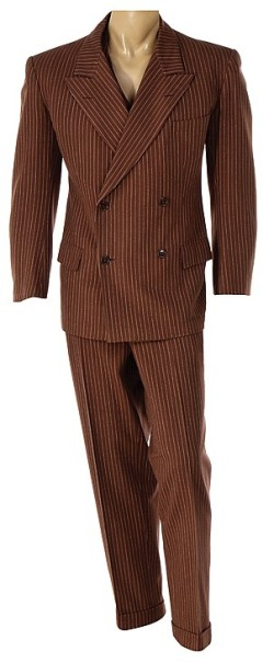 Paul Muni's screen-worn brown rope-striped suit from Scarface (1932). Source: invaluable.com