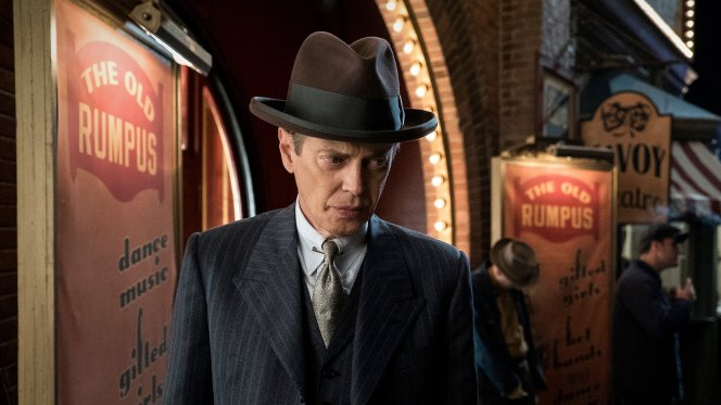 "Production still of Steve Buscemi as ""Nucky"" Thompson in ""Eldorado"", the series' final episode."