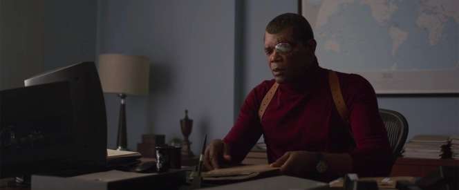 Clad in a turtleneck with a patch over his left eye, the Nick Fury we see at the end of Captain Marvel foreshadows the Fury we get to know over the rest of the MCU.