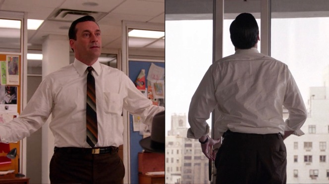 "Don gets down to business in his shirt sleeves, whether it's presenting himself to Jim Cutler in ""Field Trip"" (Episode 7.03) or battling with a fussy sliding door in ""Time Zones"" (Episode 7.01)."
