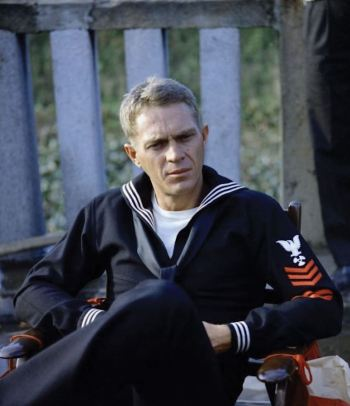 Steve McQueen in the Navy's centuries-old enlisted service dress blue during production of The Sand Pebbles.