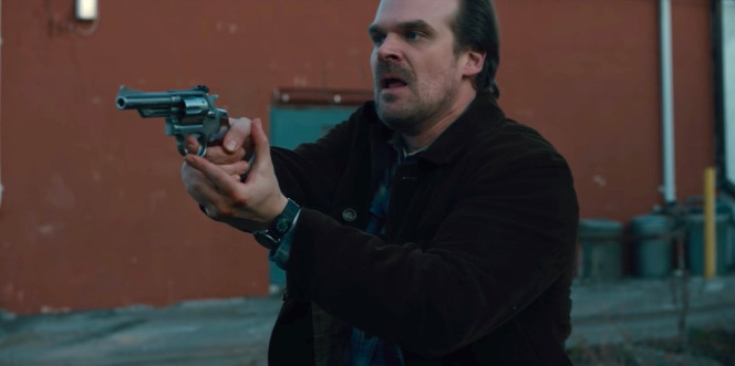"Hopper draws his Smith & Wesson Model 66 after he spots a mysterious sedan in ""Chapter Four: The Body"" (Episode 1.04)."