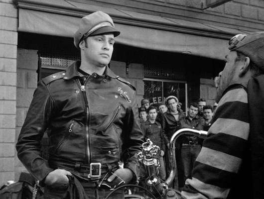 Marlon Brando's outfit in The Wild One may have become legendary, but—according to IMDB—San Francisco Hells Angels chapter president Frank Sadilek bought the striped shirt that Lee Marvin wore as Chino and wore it for a meeting with police officials.
