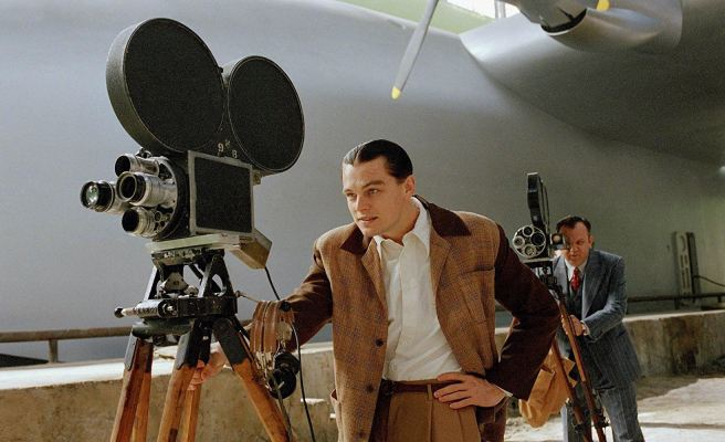 Leonardo DiCaprio and John C. Reilly on set of The Aviator.