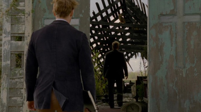 "Cohle enters the burned-out church at the end of ""Seeing Things"" (Episode 1.02)."