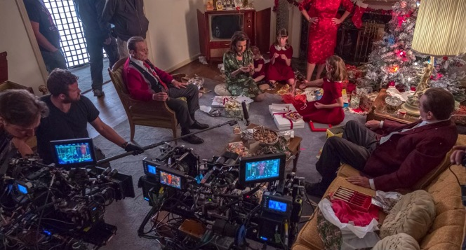 The multi-camera crew films The Irishman's Christmas scene, as seen in The Irishman: In Conversation, Netflix's brief documentary about the making of the film.