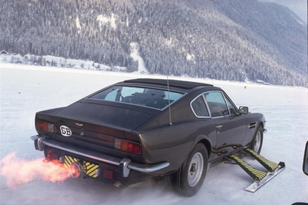 Bond's gadget-laden Aston Martin V8, rigged with retractable skis and rocket propulsion. (Source: Thunderballs)