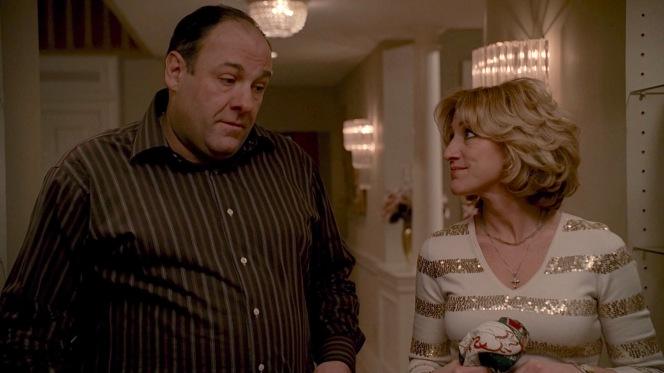 Tony and Carmela confer on AJ's new situation.
