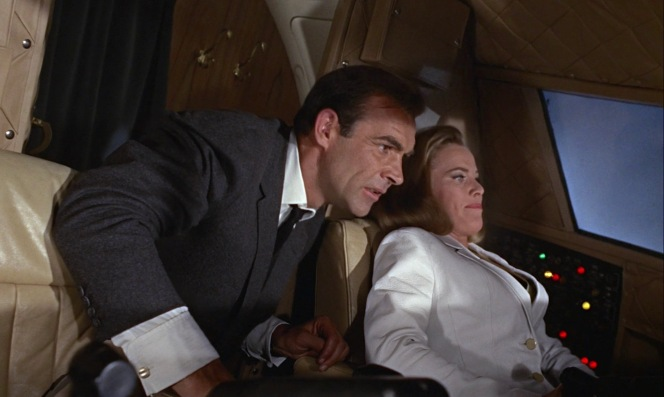 James Bond and Pussy Galore team up to try to save the plane before making their own escape from the falling aircraft.
