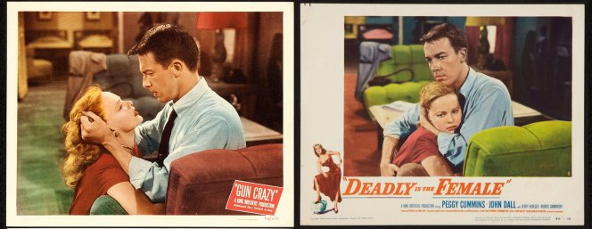 Contemporary lobby art from both the original release (Deadly is the Female) and the re-release (Gun Crazy) are relatively consistent in the color of Bart's shirt and tie and Laurie's dress, but even the furniture and carpeting in the room are inconsistently colored.