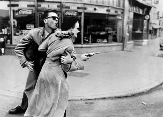 This production photo of John Dall and Peggy Cummins has become one of the most enduring images from Gun Crazy, often featured in commentary about noir style.