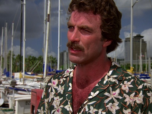 "Magnum's green Star Orchid shirt debuted in ""Don't Eat the Snow in Hawaii, Part 1"" (Episode 1.01)."