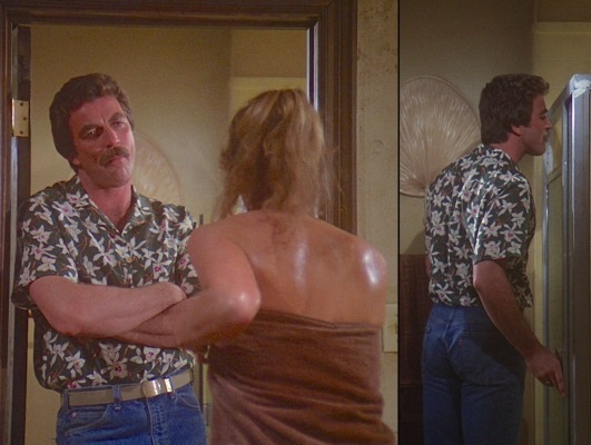"Peep the orange tag on Peeping Tom's Levi's in this scene from the first episode, ""Don't Eat the Snow in Hawaii, Part 1."" Magnum also wouldn't start wearing his personalized surface warfare belt buckle until the following season."