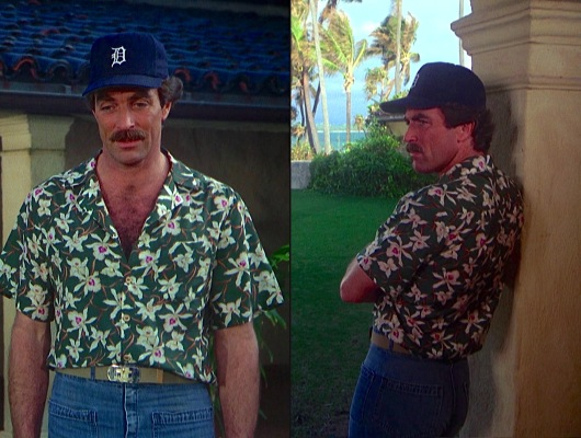"Though he had started wearing this style of jeans two years earlier, Magnum didn't wear these four-pocket dungarees with his green Star Orchid shirt until the shirt's final on-screen appearance in ""The Arrow That is Not Aimed"" (Episode 3.14)."