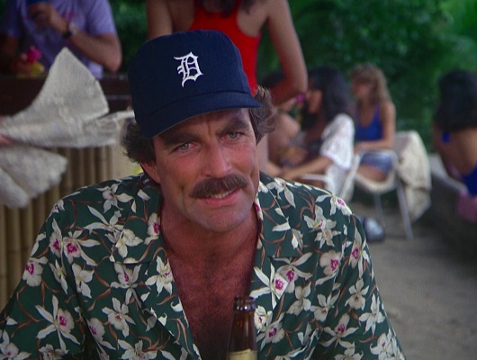 "Magnum only wore his navy Detroit Tigers cap with the green Star Orchid shirt in ""The Arrow That is Not Aimed"" (Episode 3.14)."