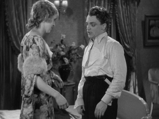 """""""You don't think I'm old, do you, Tommy?"""" coos Jane during her seduction of the drunken Tom Powers. Interestingly, actress Mia Marvin—who countsThe Public Enemy among her three movies she appeared in, all uncredited—was born November 1, 1904, making her a full five years younger than James Cagney and only 26 years old when The Public Enemy was made. Granted, Cagney's character is likely supposed to be about ten years younger than the actor himself, but anyone who does think she's """"old"""" would surely need to have their eyes checked."""