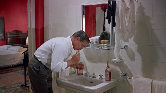 """""""I'mnot drunk! I brushed my teeth with a little whiskey, that's all,"""" he later protests while on the phone with his fiancee."""