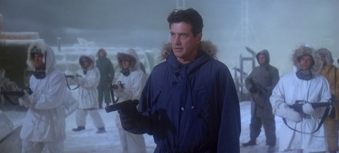 The 1911-armed Ferraday and his M16-wielding Marines confront the Soviet force who meets them at Ice Station Zebra.
