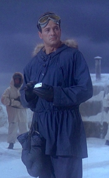 Rock Hudson as CDR Jim Ferraday in Ice Station Zebra (1968). Note the mittens hanging from his side.