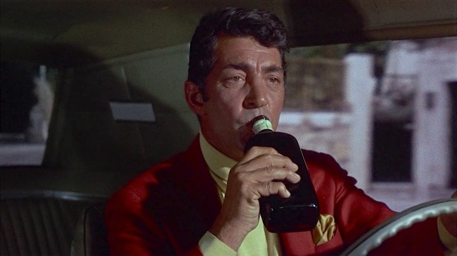 Unfortunately for the functioning alcoholic Helm (but fortunately for his fellow drivers), the Ballantine's bottle in Matt Helm's Thunderbird contained only a briefing... and nary a dram or drop of the good stuff.
