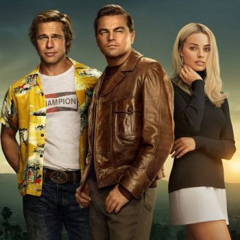 Promotional photo of Brad Pitt, Leonardo DiCaprio, and Margot Robbie in costume for Once Upon a Time... in Hollywood.
