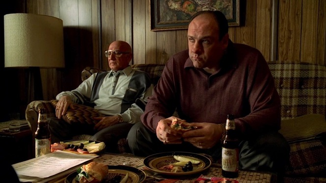 """Tony and Uncle Junior enjoy beers, sandwiches, and antipast' in """"Whoever Did This"""" (Episode 4.09)."""