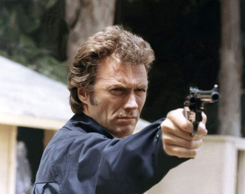 Production photo of Clint Eastwood taking aim with Harry's notorious Smith & Wesson Model 29 in Magnum Force.