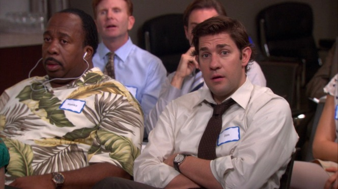 """Jim picks a seat next to his new idol Stanley in """"Tallahassee""""."""