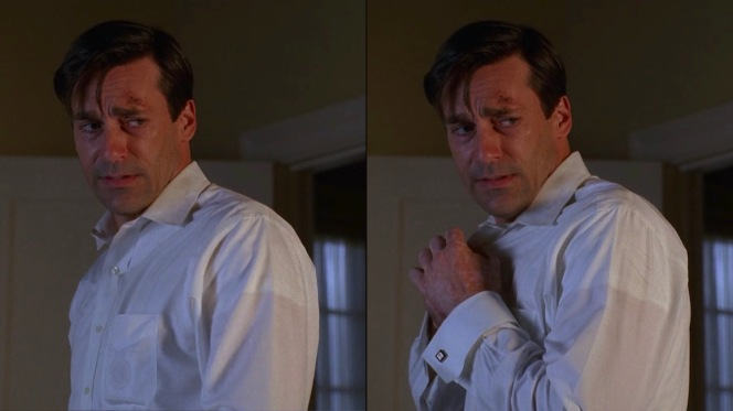 The hallmarks of a Don Draper white shirt: front placket, breast pocket for cigarettes, and double cuffs. Through the lightweight cotton, you can also spy the outline of his usual white cotton short-sleeved crew-neck undershirt.