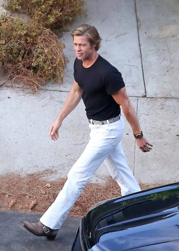 Brad Pitt on the Once Upon a Time... in Hollywood set (Photo by SplashNews.com)