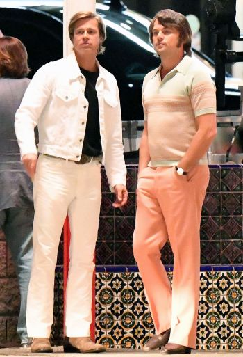 Brad Pitt and Leonardo DiCaprio on the set of Once Upon a Time... in Hollywood (2019)