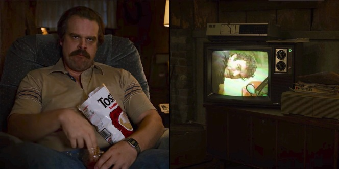 Parked in front of the tube munching on chips and salsa, Hopper drifts into the escapist world of Magnum, P.I. to distract himself from whatever is happening between Eleven and Mike behind him.
