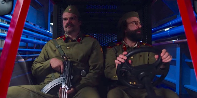 """Hopper and Murray surprisingly manage to bluff their way past the Soviet sentries in their less-than-convincing disguises in """"The Battle of Starcourt Mall"""" (Episode 3.08)."""