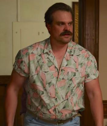 "David Harbour as Jim Hopper on Stranger Things (Episode 3.04: ""The Sauna Test"")"