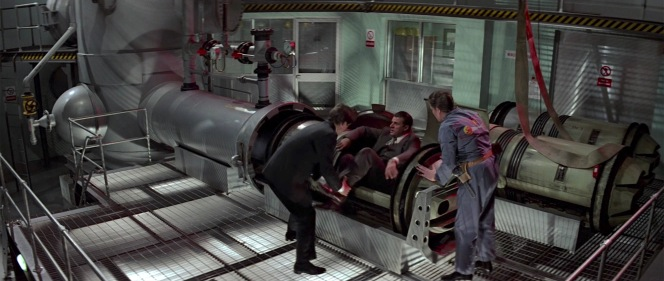 """""""Pigs! Borscht! Cake! There must be another way!"""" Koskov complains of Bond's experimental but ultimately effective method of securely transporting him out of Soviet territory via a literal pipeline to the west."""