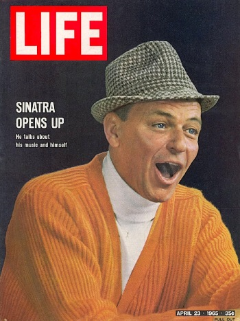 Frank Sinatra, photographed for the April 23, 1965 cover of LIFE magazine by John Dominis. The same cardigan would appear in Marriage on the Rocks (1965), released five months later.