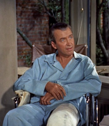 "James Stewart as L.B. ""Jeff"" Jefferies in Rear Window (1954)"