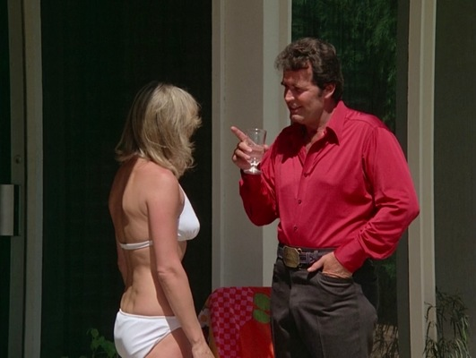 "Accessorized with his oilman's belt and buckle, Rockford confronts Audrey as she continues spinning her web of deception in ""The Farnsworth Strategem"" (Episode 2.02)."
